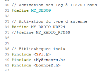 Modification du code MySensors