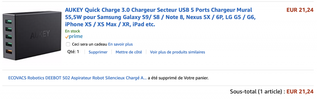 Chargeur USB AUKEY Quick Charge 3.0