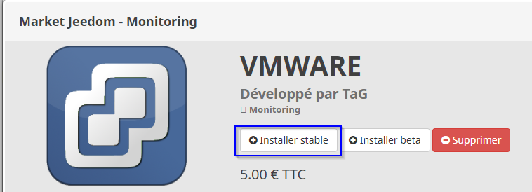 Installation plugin VMWARE